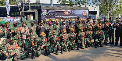 Yonmarhanlan III bersama dengan Jajaran TNI AD Jakarta Utara Ucapkan Selamat HUT Bhayangkara ke 74 Ke Jajaran Polri di Jakarta Utara