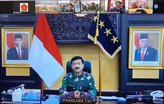 Panglima TNI Gelar Video Conference dengan Pangkotama TNI Wilayah Jawa Timur