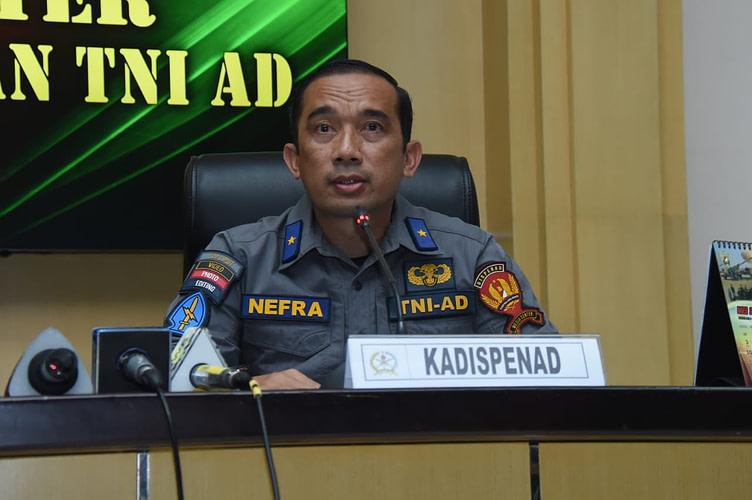 Kapala Dinas Penerangan Angkatan Darat (Kadispenad) Brigjen TNI Nefra Firdaus, S.E., M.M., Gelar Press Conference, terkait meninggalnya anggota TNI AD