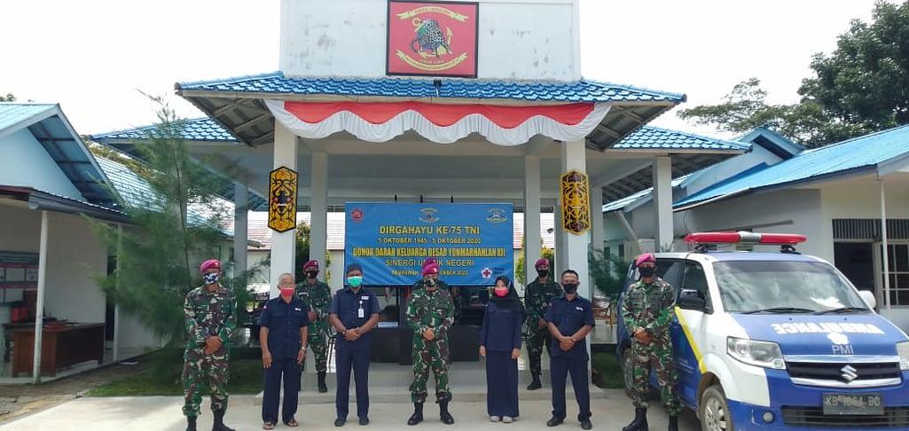 Peringati Hut TNI Yonmarhanlan XII Gelar Donor Darah.