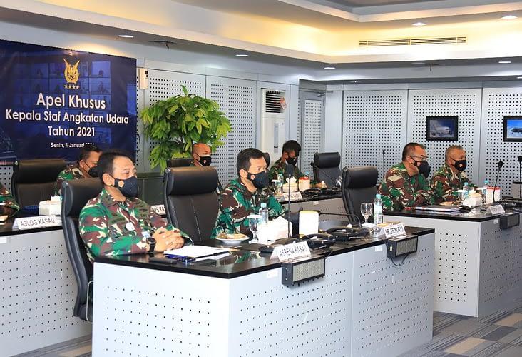 Pimpin Apel Tahun Baru 2021, Kasau Minta Kesiapan Operasional TNI AU Tetap Tinggi