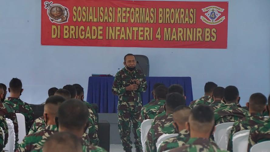 Sosialisasi Reformasi Birokrasi dan Zona Integritas di Brigif 4 Mar/BS