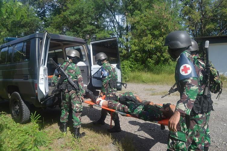 Prajurit Yonmarhanlan XII Ikuti Latihan Pendisplinan Protokol Kesehatan