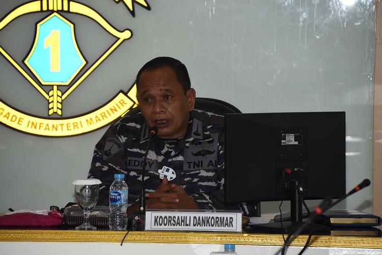Koorsahli Dankormar Menerima Paparan Naskah Akademik Pembentukan Dinas Perawatan Personel Korps Marinir