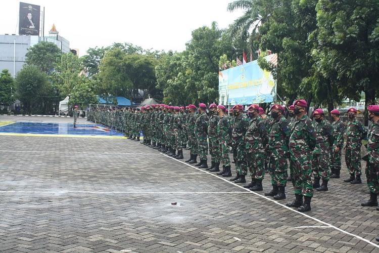 Prajurit Yonmarhanlan III Ikuti Exit Briefing Komandan Lantamal III