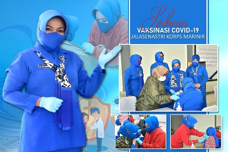 Ketua Gabungan Jalasenastri Korps Marinir Meninjau Langsung Serbuan Vaksinasi Covid-19