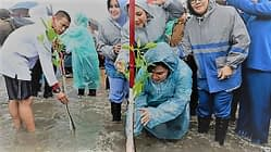 Ketum Dharma Pertiwi Dampingi Ibu Negara Tanam Mangrove di Pantai Labuan