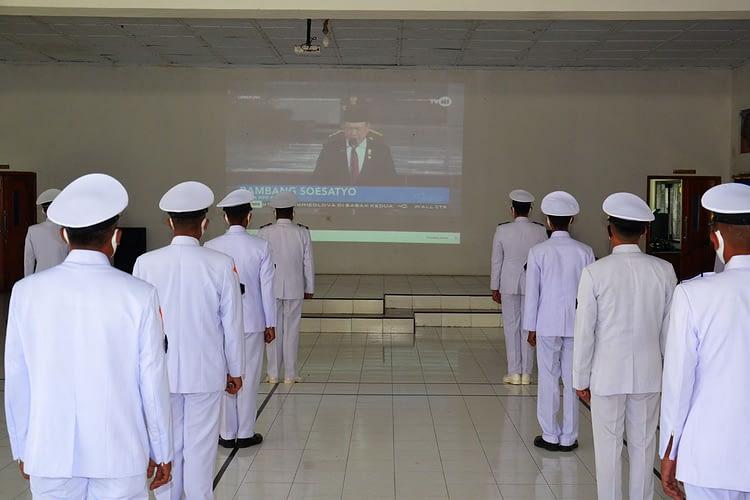 Prajurit Batalyon Howitzer 2 Marinir Ikuti Upacara  Peringati Hari Kesaktian Pancasila, Secara Virtual