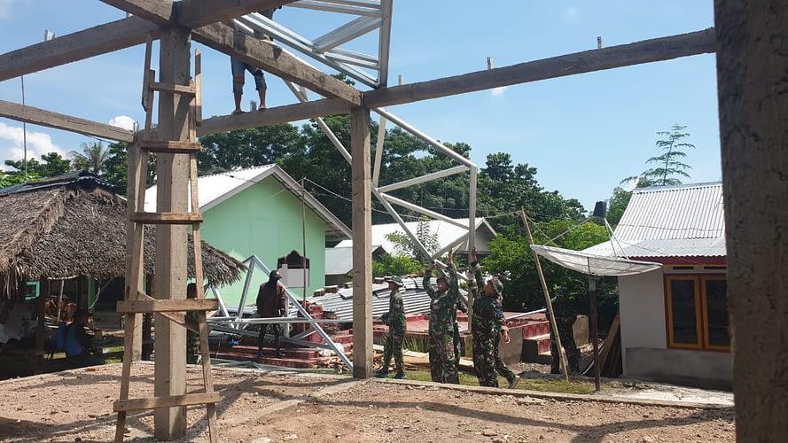 Marinir Bangun di 17 Titik Percepatan Pembangunan Pasca Gempa Lombok