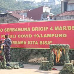 TNI AL, Korps Marinir Bangun Dapur Lapangan Untuk Warga Isoman Pasein Covid-19 di Bandar Lampung