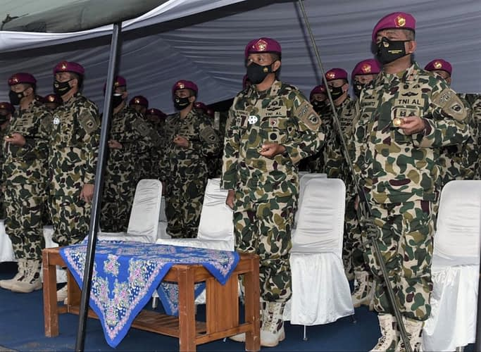 Danpasmar 1 Brigjen TNI (Mar) Hermanto Ikuti Prosesi Sertijab Komandan Komando Latih Marinir