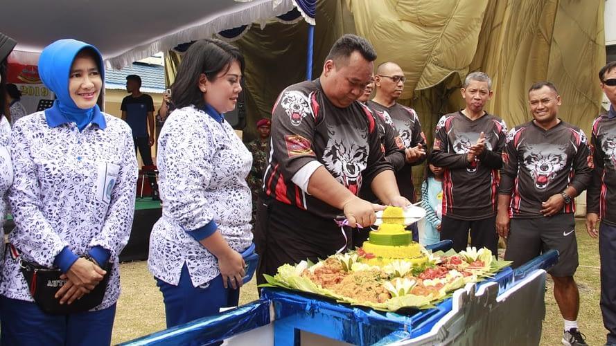HUT YONMARLAN VIII Bitung Ke 18 Adakan  Olah Raga Bersama Tni Polri