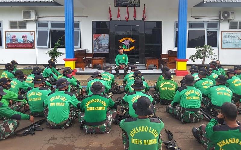 Komandan Puslatpurmar-4 Purboyo Memimpin Apel Kesiapan Satgas Penertiban Aset Tanah BMN TNI-AL/Koprs Marinir Purboyo