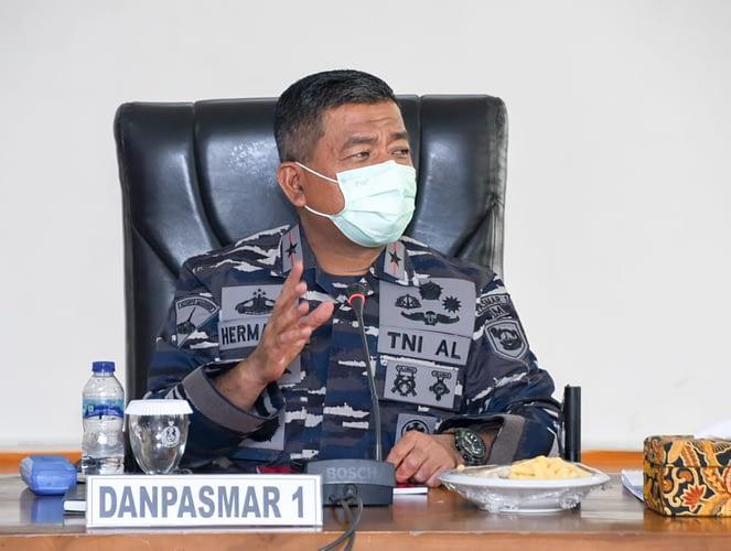 Danpasmar 1 Terima Paparan Rencana Garis Besar Latihan Pasukan Pendarat Korps Marinir TNI AL