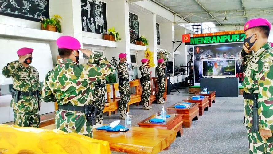 Danmenbanpur 2 Mar Beserta Jajarannya Ikuti  Upacara Peringatan HUT TNI Ke-75 Secara Virtual