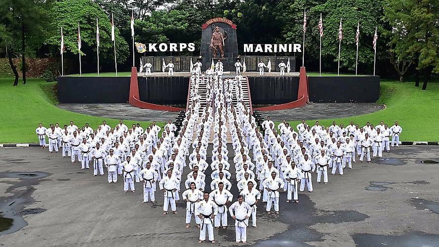 (Dankormar) Mayjen Tni (Mar) Suhartono, M.Tr (Han) Memimpin Langsung Latihan Gashuku  Di Sarang Petarung Marinir Cilandak