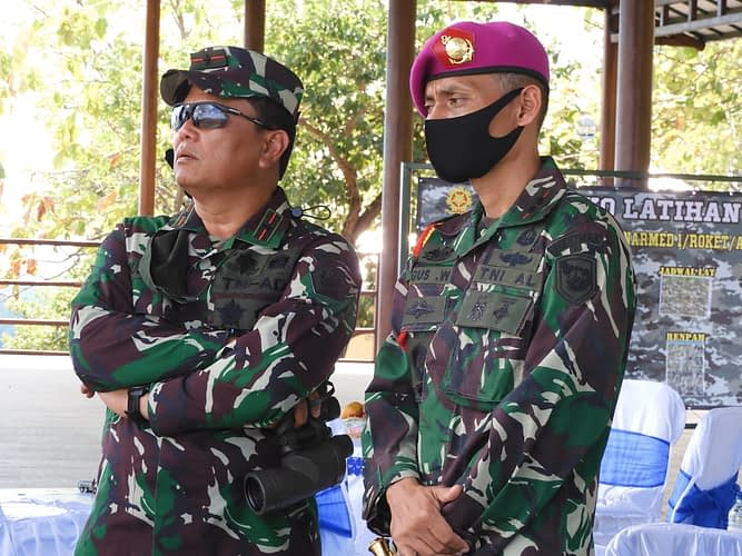 Kasdivif 2 Kostrad Tinjau Tembakan Artileri Medan Di T 12 Puslatpurmar 5 Baluran