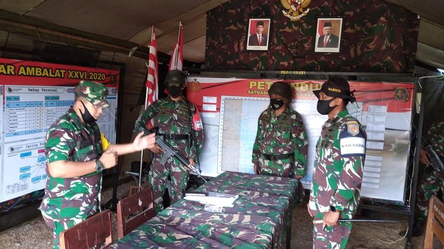 Sops Mabes TNI Tinjau Pelaksanaan Latihan Pratugas Operasi Satgasmar Ambalat XXVI dan Satgasmar Puter XXIV Ta. 2020 di Rahlat Puslatpurmar 3 Grati