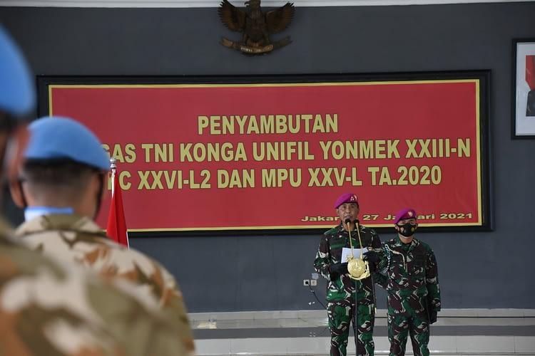Dankormar Pimpin Upacara Penyambutan Satgas Luar Neger Prajurit Korps Marinir