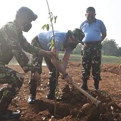 Jadikan Lingkungan Semakin Hijau, Lanud Halim Lakukan Penanaman Pohon