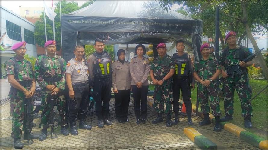 Sinergitas Jelang Pemilu Yonmarhanlan V Apel Bersama Di Polres Tanjung Perak Surabaya