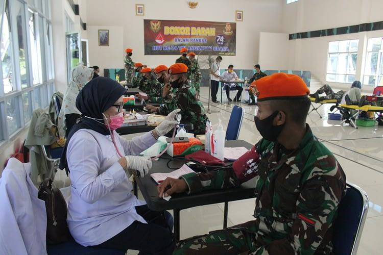 Bantu PMI, Prajurit Wing I Paskhas Sumbang 200 Kantong Darah